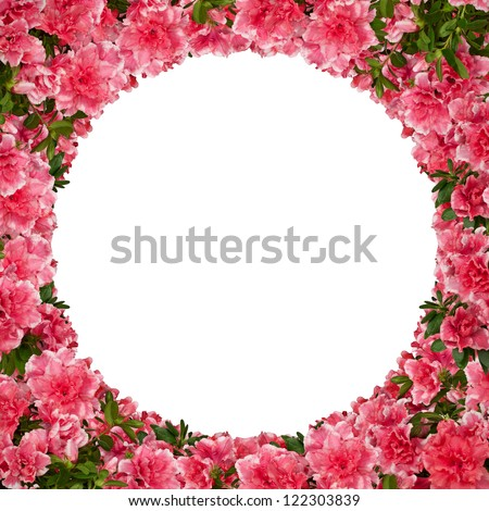 Round floral frame with azalea flowers against white.