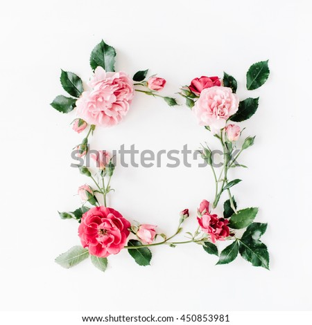round frame wreath pattern with roses, pink flower buds, branches and leaves isolated on white background. flat lay, top view #450853981