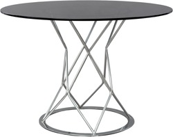 round glass dinning table. Modern designer, table isolated on white background. Series of furniture.