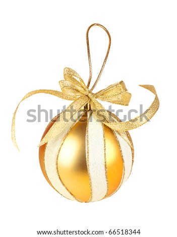 Round Gold Christmas Toy on white background