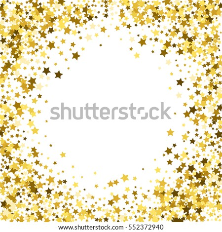 Round gold frame or border of random scatter golden stars on white background. Design element for festive banner, birthday and greeting card, postcard, wedding invitation