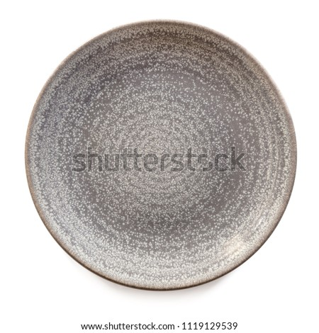 Round gray stoneware plate, empty.  Top view, isolated on white.