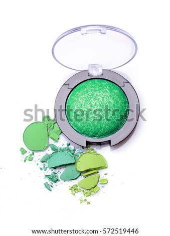 Round green crashed eyeshadow for make up as sample of cosmetics product isolated on white background