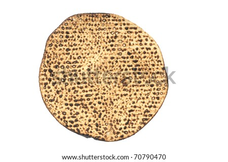 Round hand-made matza  eaten on the Jewish holdiay of Passover.