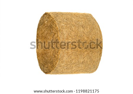 Round hay bale isolated on a white background #1198821175