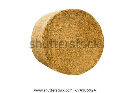 Round hay bale isolated on a white background #694306924