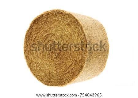Round hay bale isolated on a white background #754043965