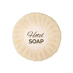 Round hotel soap in a package isolated on white background with clipping path. Small wrapped bar of soap in paper top view