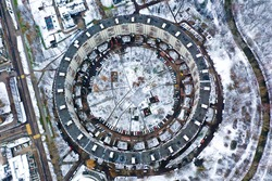 Round House in Moscow Nezhinskaya Street Top View. Circle shaped house