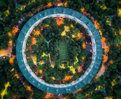 Round House with City Lights Top View