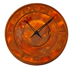 Round industrial wall clock in iron, rust all over the dial, isolated on white background.