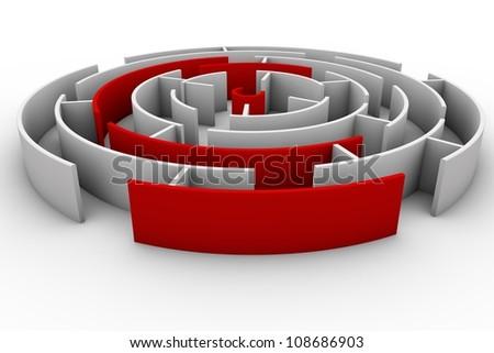 Round labyrinth - stock photo