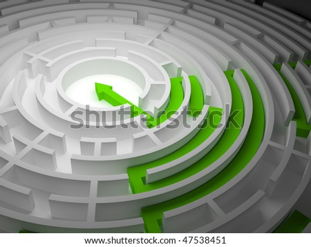 Round labyrinth on a white background with one exit and an arrow