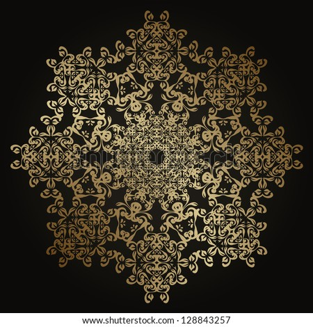 Round lace pattern in gold. Vintage design