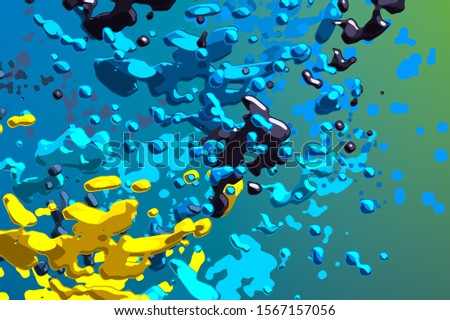 Round liquid droplets in the air. Abstract painting. Colorful particles. 2d illustration. Random unique chaos. Artistic background. Chaotic frozen motion particle molecules.