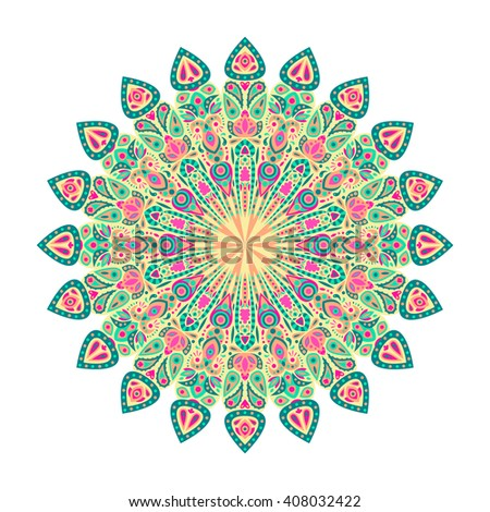 Round mandala. Arabic, Indian, Islamic, Ottoman ornament. Green and pink floral pattern, motif isolated on white background.