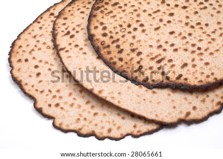 Round Matzo, hand made (Matza Shmura), isolated