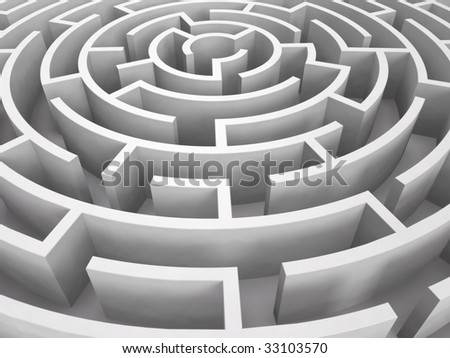 Round maze. 3D rendered image - stock photo