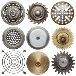 Round metal objects. Isolated on white.