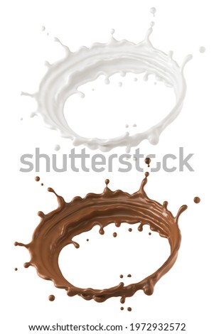 Round milk, Chocolate Milk splash circle, isolated on white background with clipping path, 3d illustration.