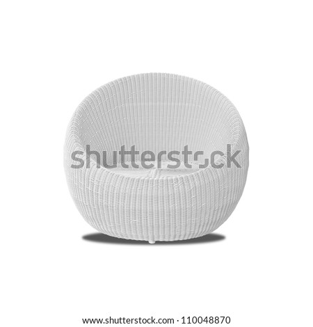 Round modern furniture wicker chairs isolated on white background