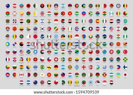 Round national flags. World countries flag circles, official country rounded symbols. Ukraine, Germany and China flags or geography lesson round country profile avatar. Isolated  icons set