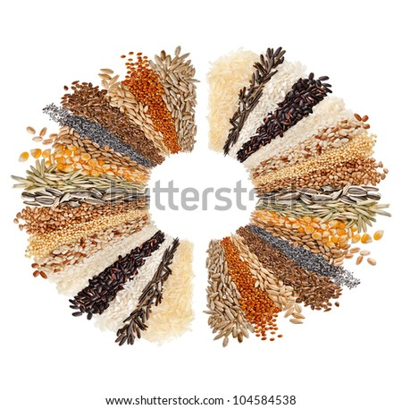 Round of Cereal Grains, Seeds, Rye, Wheat, Barley, Oat, Sunflower, Corn, Flax, Poppy, surface top view isolated on white background
