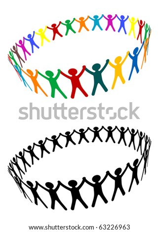 Round of peoples as a friendship symbol - also as emblem or logo template. Vector version also available in gallery