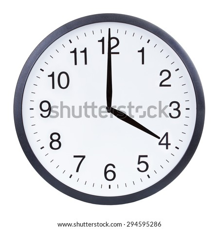 Round office clock showing four o'clock isolated on white background #294595286