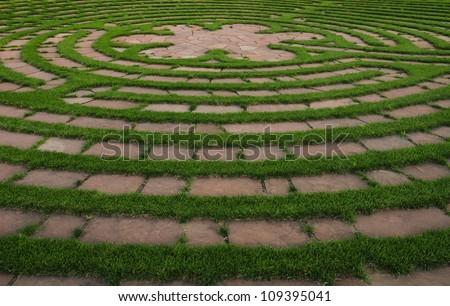 Round outdoor prayer labyrinth
