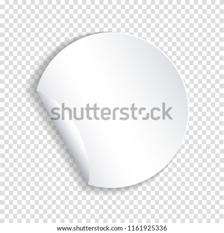 Round paper sticker template with bent edge with translucent shadow. Element for advertising and promotional message isolated on transparent background. Web banner illustration for your design #1161925336