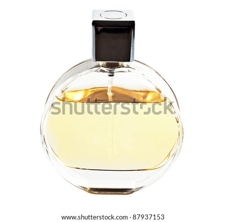 Round perfume bottle, isolated on white.