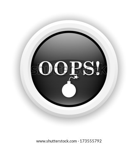Round plastic icon with white design on black background