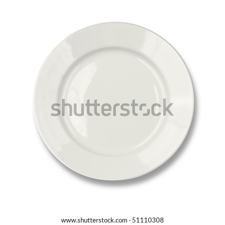 Round plate isolated on white with clipping path included