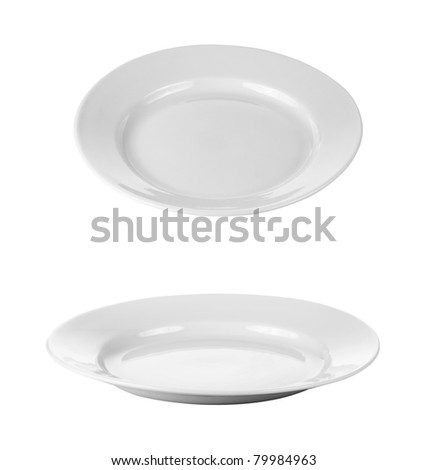 round plates or dishes isolated on white with clipping path