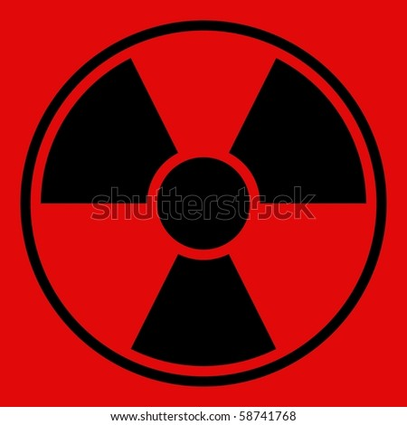 Round radiation warning sign on red background
