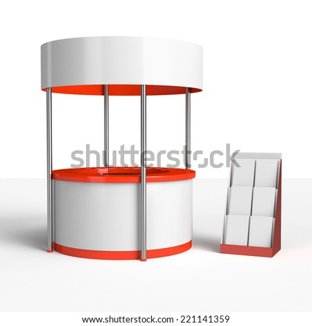 round red and white stand or booth in a trade show 3D render