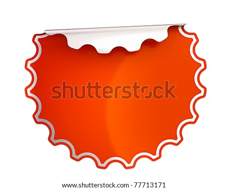 Round Red bent sticker or label over white background