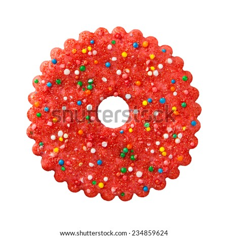 Round Red Christmas Cookie with multicored candy sprinkles. The point of view is from above. The subject is isolated on white.