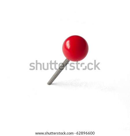 Round Red Pushpin isolated on white, clipping path included
