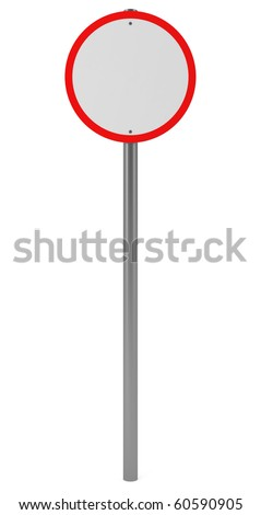 Round Red Traffic Sign isolated on white - 3d illustration