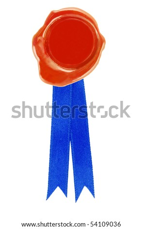 round red wax seal with a blue ribbon