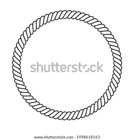 Round rope frame. Circle ropes, rounded border and decorative marine cable frame circles. Rounds cordage knot stamp or nautical twisted knots logo isolated icon