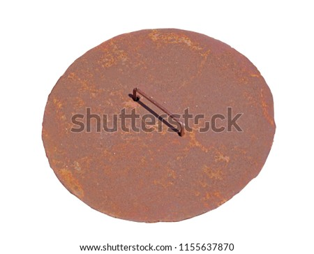 Round rusty steel hatch of the city sewerage system Isolated on white #1155637870