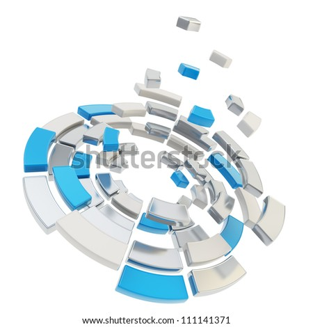 Round segmented into chrome metal and blue pieces circle composition defragmentation icon emblem isolated on white as abstract background - stock photo
