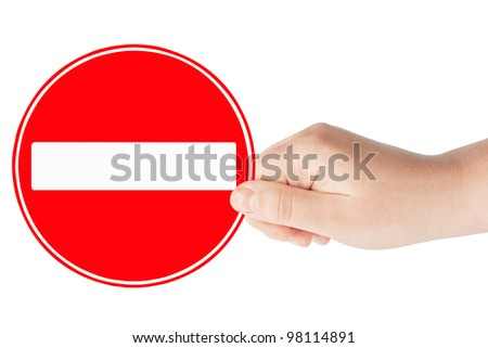 Round sign No Entry with hand on a white background