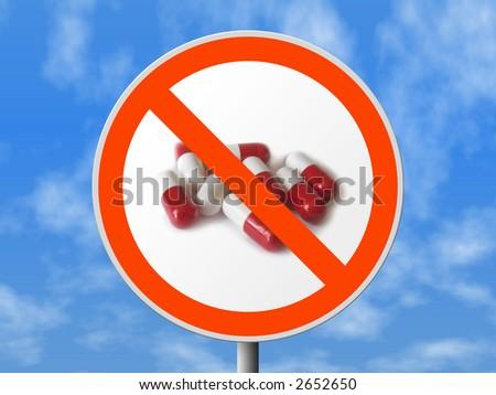Round sign No pills, sky on background
