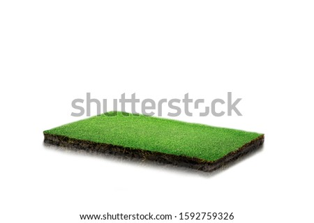round soil ground cross section with earth land and green grass, realistic rectangle cutaway terrain floor with rock isolated ストックフォト ©