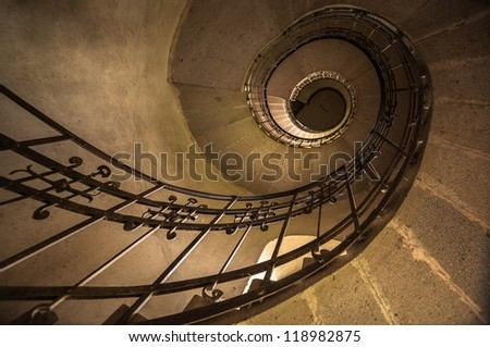 Round stairs in a church angle shot