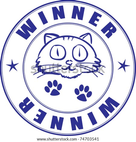 Round stamp on the certificate - winner of the pets competition